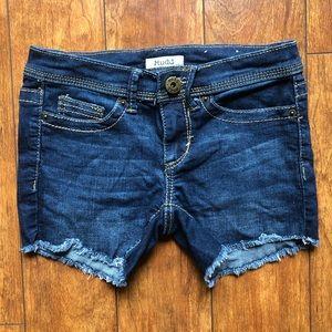 3/$25 Mudd Juniors Denim Shortie Shorts - Size 0